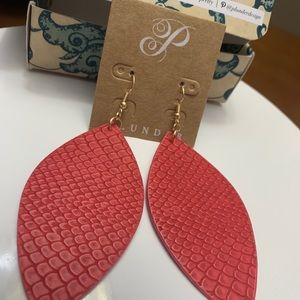 Plunder red leather earrings